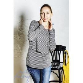 Пуловер с вырезом-лодочкой для кормящих в черно-белую полоску, Milky Fairy