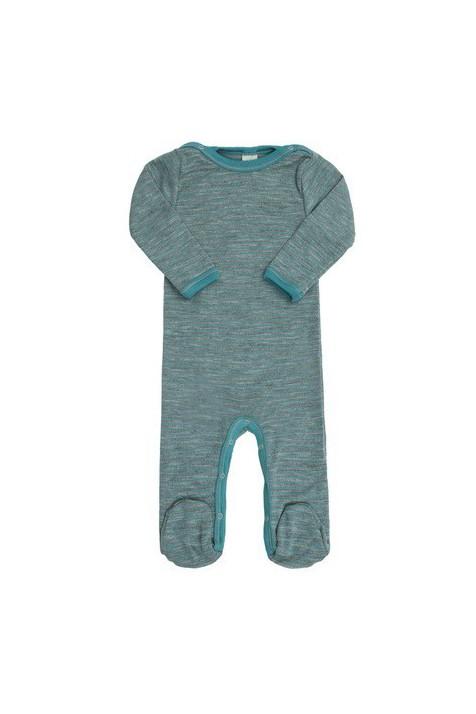Человечек Engel c закрытой ножкой шерсть/шелк зелено-голубой