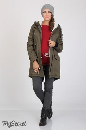 Зимняя куртка для беременных Юла Мама Inira хаки арт. OW-36.042