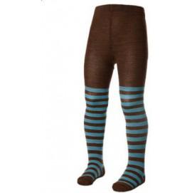 Термоколготки детские Norveg Soft Merino Wool коричневые в голубую полоску