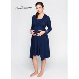 Халат для беременных и кормящих Creative Mama Royal темно / синий