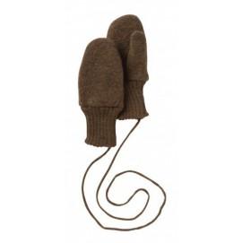 Варежки из свалянной шерсти Disana коричневые c пальчиком