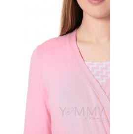 """Халат + ночная рубашка для беременных и кормящих Yammy Mammy арт. 118.02.1 розовый/белый """"зиг-заг"""""""