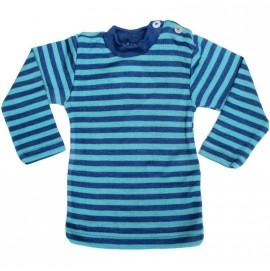Термофутболка Engel пуговицы на плече из шелка и шерсти арт. 72 5110/835 океан в сине-голубую полоску