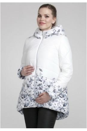 Куртка зимняя 2в1 для беременных Modress Elyza белая - принт бабочки