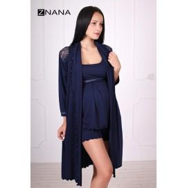 Комплект для беременных и кормящих ZNANA Lace синий (халат+пижама)