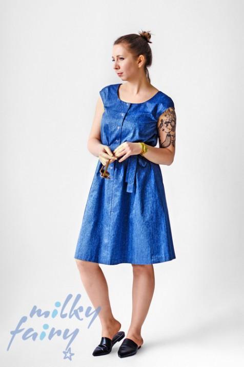 Платье для беременных и кормящих Milky Fairy синий