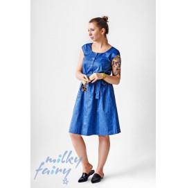 Платье для беременных и кормящих с коротким рукавом MilkyFairy синий
