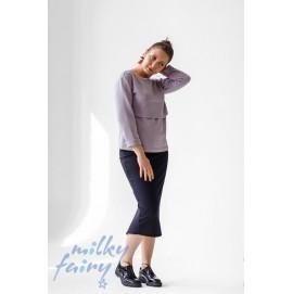 Свитшот для беременных и кормящих с длинным рукавом MilkyFairy светло-сиреневый