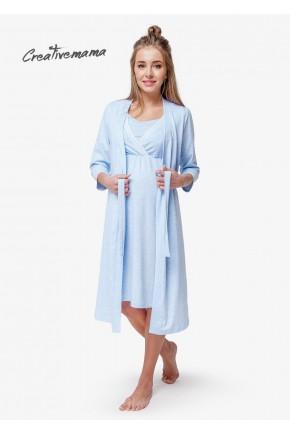 Комплект в роддом для беременных и кормящих Creative Mamа Blue Coton (хлопок)