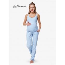 Пижама для беременных и кормления Creative Mama Blue Coton (хлопок)