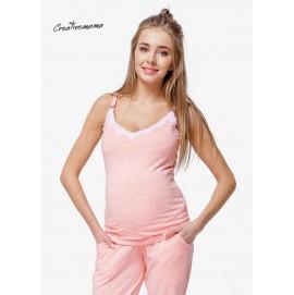 Пижама для беременных и кормления Creative Mama Peach Coton (хлопок)