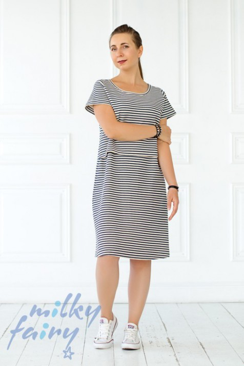 Платье для беременных и кормящих Мilkyfairy сине - белое в полоску