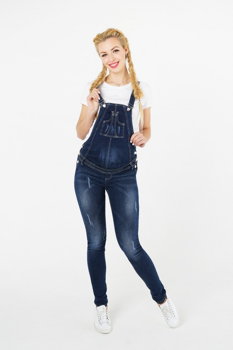 Полукомбинезон для беременных джинсовый, синий арт. 751731