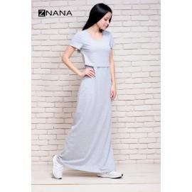 Платье футболка для беременных и кормящих ZNANA Simple Long серый
