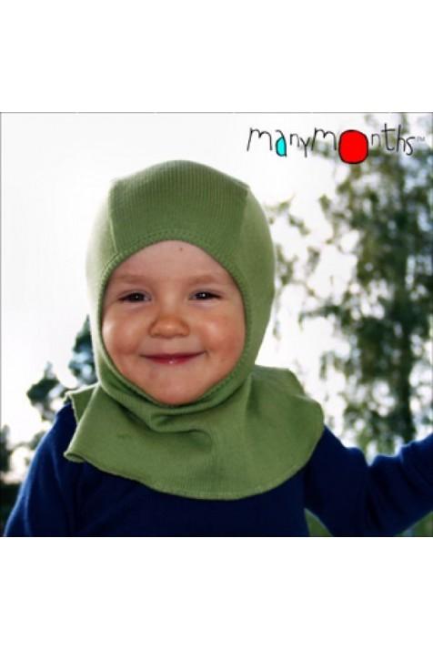 Шапка-шлем из шерсти мериноса MaM ManyMonths фисташковый