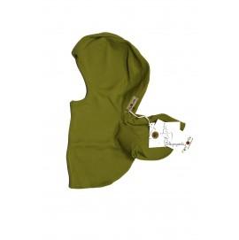 Шапка-шлем из шерсти мериноса MaM ManyMonths оливковый