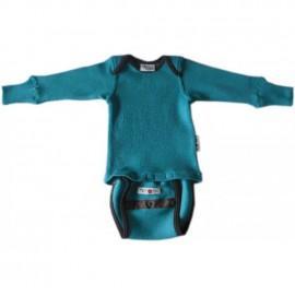 Боди/кофта с длинным рукавом из шерсти мериноса MaM ManyMonths Royal Turquoise