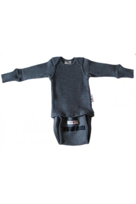 Боди/кофта с длинным рукавом из шерсти мериноса MaM ManyMonths Silver Grey
