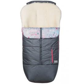 Конверт на овчине ДоРечі Trend серый с розовым декором
