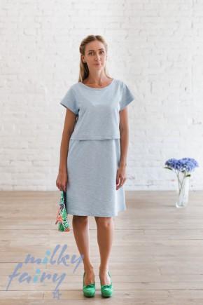 Платье для кормящих Milky Fairy голубой меланж