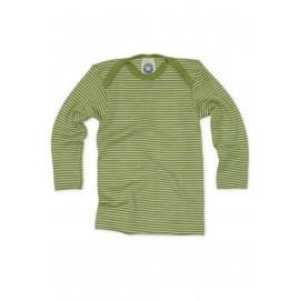 Кофточка на довгий рукав, шерсть/шовк, зелений колір, Cosilana