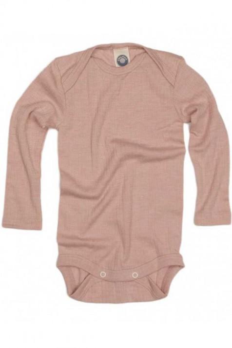 Боді довгий рукав, бавовна/шерсть/шовк, рожевий, Cosilana
