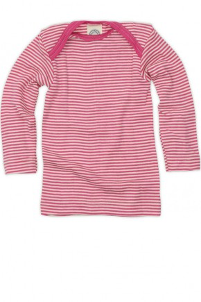 Термокофта для новорожденных из шерсти и шелка розовая полоска Cosilana арт. 71033 130