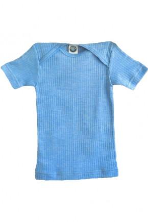 Кофточка Cosilana с коротким рукавом хлопок/шерсть/шелк цвет голубой