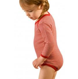 Боді дитяче з вовни мериноса Hocosa червона смужка