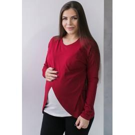 Топ с запахом для беременных и кормящих Love&Carry бордовый