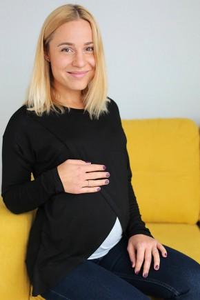 Реглан с запáхом для беременных и кормящих Love & Carry черный