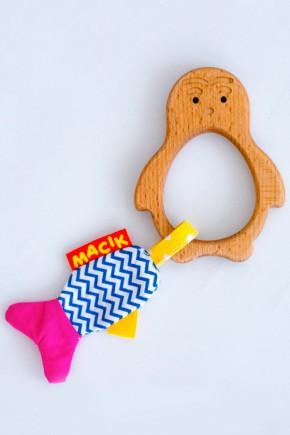 Прорезыватель для зубов Macik MWood пингвин