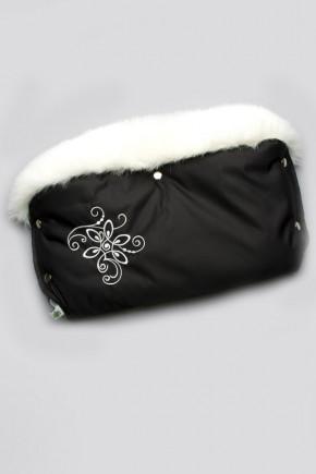 Муфта на коляску с опушкой Модный Карапуз черная