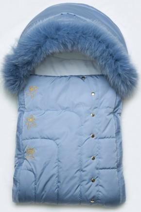 Конверт для новорожденного с опушкой Модный Карапуз голубой