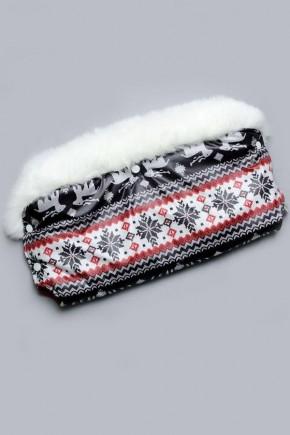 Муфта на коляску с опушкой Модный Карапуз коричневая с серым