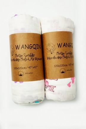 Муслиновая пеленка Wangqin 120х120 разные цвета
