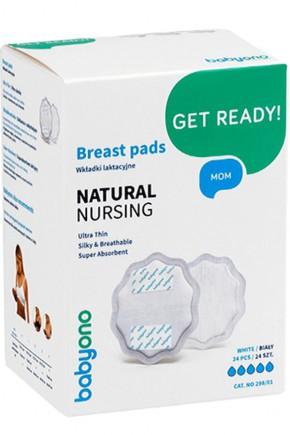 Лактационные вкладыши Natural Nursing BabyOno белые 24 шт