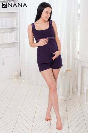 Комплект домашний для беременных и кормящих ZNANA Lace баклажан