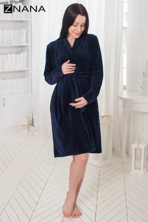 Халат для беременных и кормящих велюровый ZNANA Care темно-синий