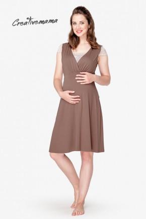 Ночная рубашка для беременных и кормящих Creative Mama Chocolate
