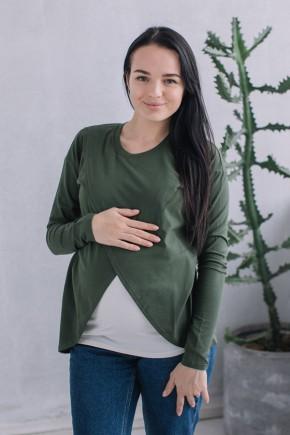 Джемпер с запахом для беременных и кормящих Love&Carry олива