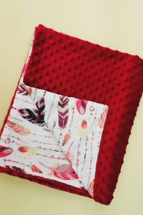 Плед для новорожденных Bony 80х100 двухсторонний красный с перьями
