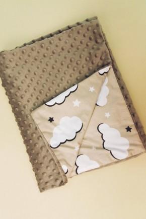 Плед для новорожденных Bony 80х100 двухсторонний коричневый с тучками