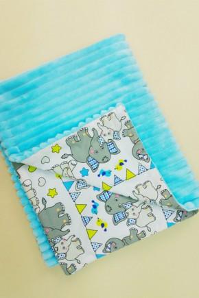 Плед для новорожденных Bony 80х100 двухсторонний голубой со слониками