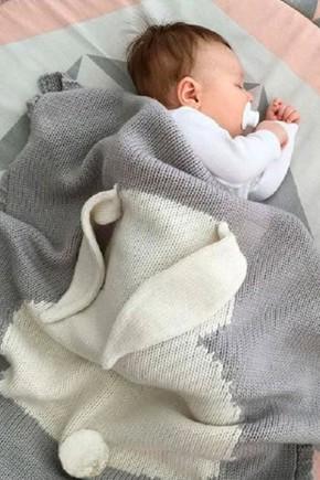Плед для новорожденных Фламинго 70х120 ушастик серый