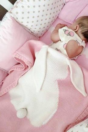 Плед для новорожденных Фламинго 70х120 ушастик розовый