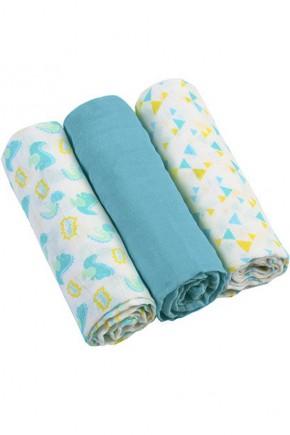 Муслиновые пеленки Babyono 70х70 голубые 3 шт.