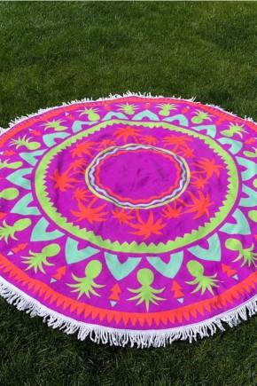 Круглое Полотенце Пальмы, 150 см + бахрома