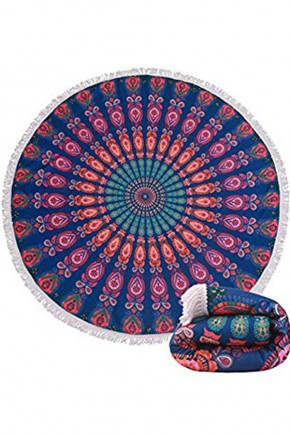 Круглое Полотенце Розы, 150 см + бахрома
